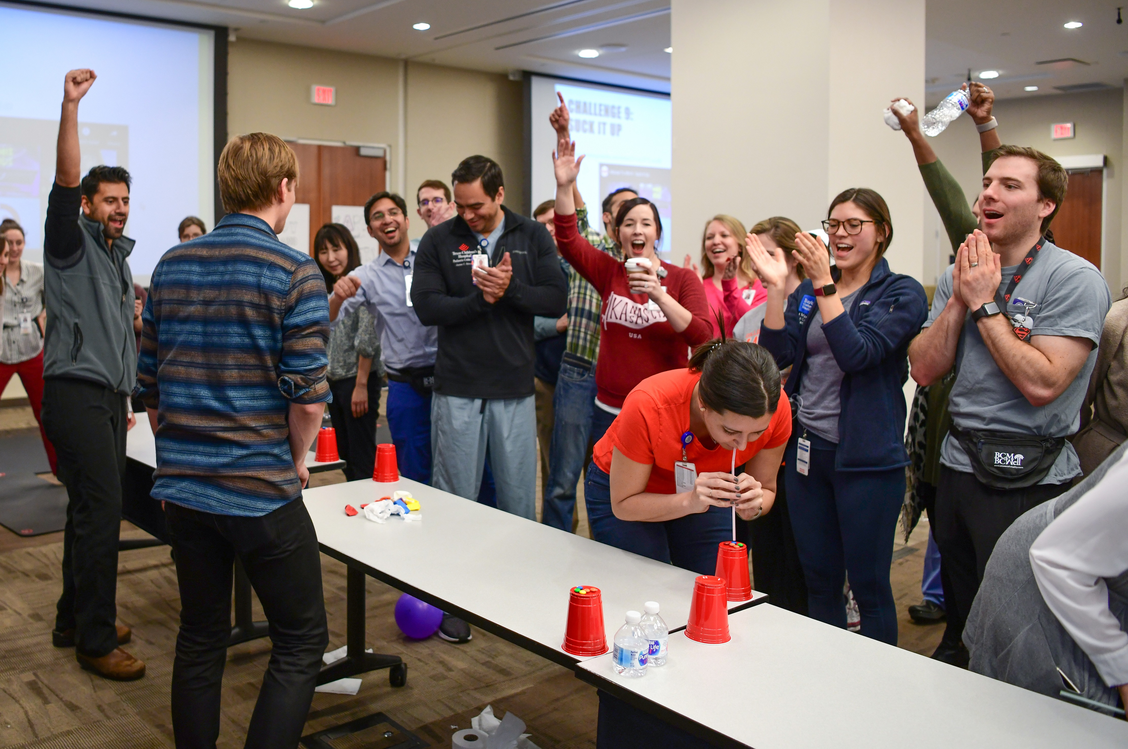 Minute to Win it Challenges during Fellows Fun Day Retreat""