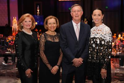 Honoree Jan Duncan, honorary chairs Dr. Carolina Gutierrez and Dr. C. Kent Osborne and honoree Sue Smith join together at the Lights Out Cancer event benefiting the Dan L Duncan Comprehensive Cancer Center.