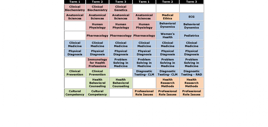 2019-2020 PA Final Didactic Course Grid