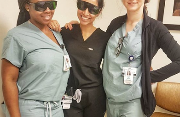 Dermatology residents in scrubs