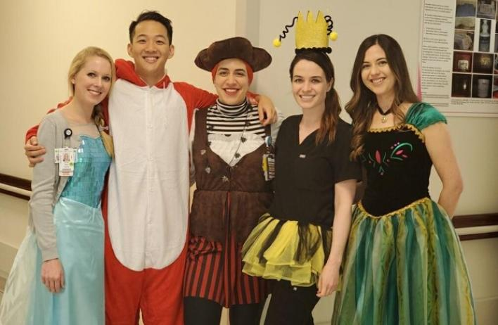 Dermatology residents dressed for Halloween at work.