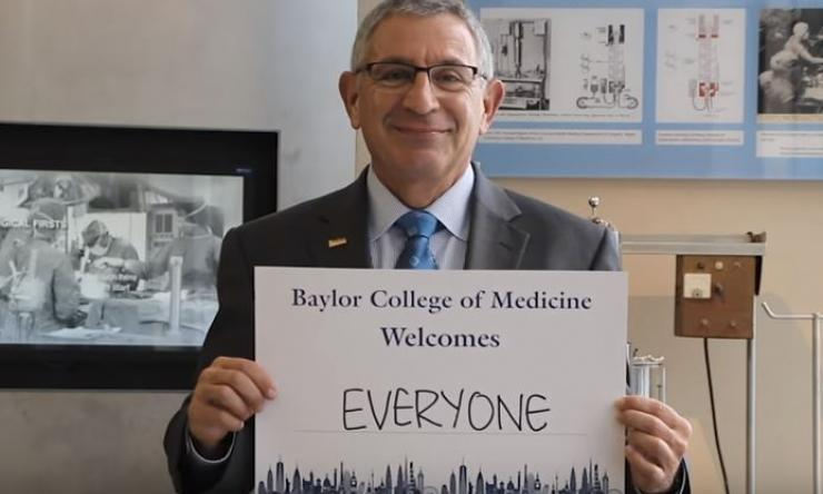 Dr. Paul Klotman starts the video, representing Baylor diversity and inclusion.