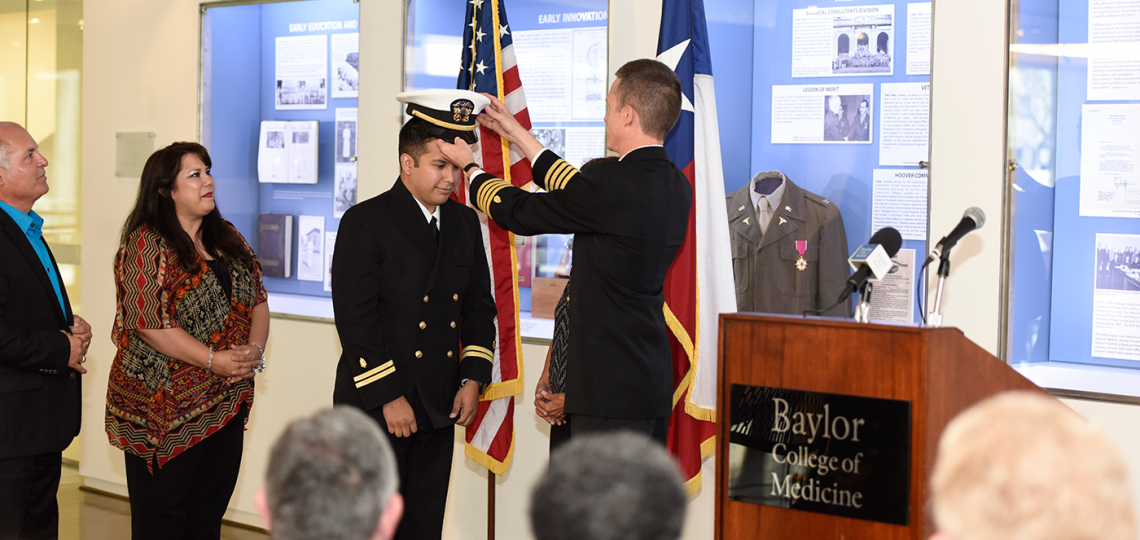 After completing medical school, Bryant Nieto was commissioned into the Navy during a ceremony held in May 2016.