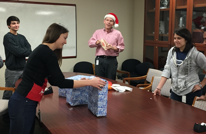 Setting up for the lab 2014 holiday white elephant party.