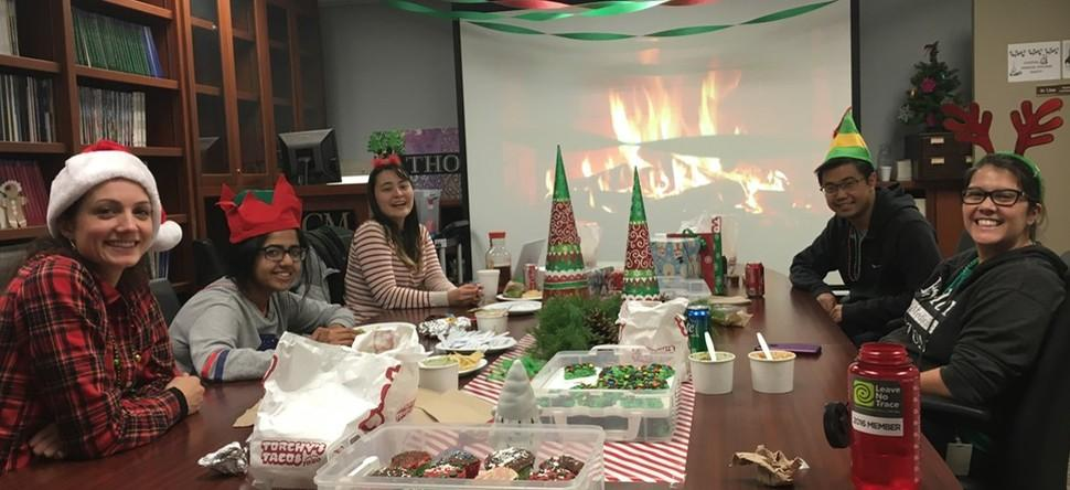 2018 Holiday Party: a skeleton crew over the holidays but we know how to party!