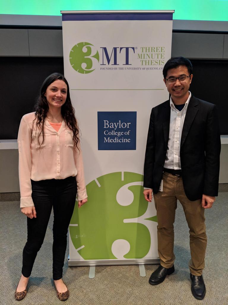 Diana and Paul signed up for the 3MT Three Minute Thesis competition sponsored by Queensland University. Diana won first place in the BCM competition.
