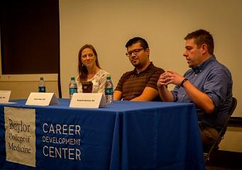 Panelists (left to right): Dr. Kelsey McCulley (Nexcelom), Dr. Joseph Valdez (Natera) and Dr. Benjamin Bammes (Direct Electron)
