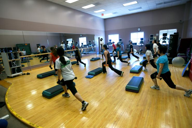 The College's gym offers a range of group exercise classes.