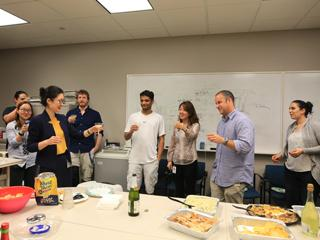 Lab members celebrate after Wenyi defends her thesis.