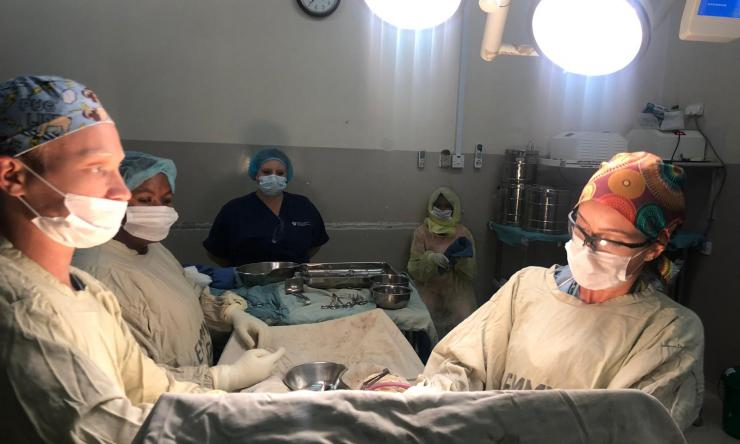 A medical student in the operating room in Malawi. Malawi is a Baylor International Pediatrics AIDS Initiative site available for Baylor College of Medicine students interested in doing an international OB/GYN clinical elective.