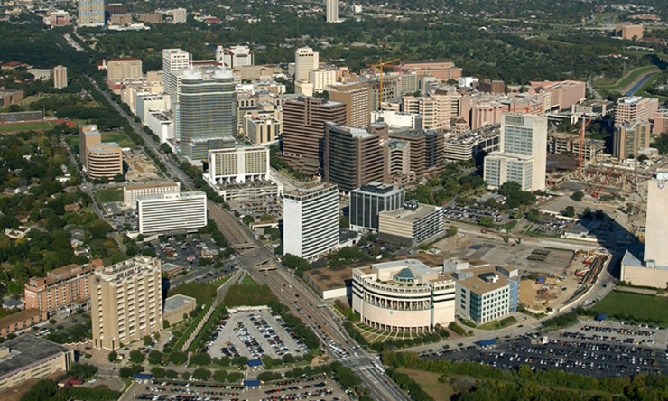 An aerial shot of the Texas Medical Center, the largest medical complex in the world.
